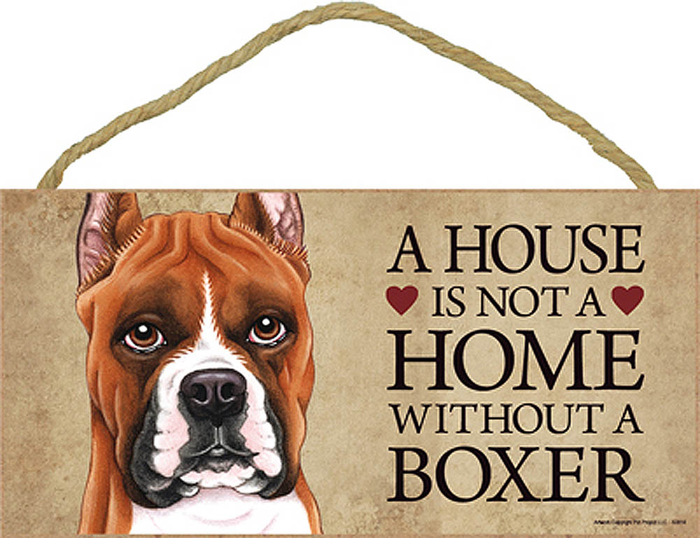 Boxer Wood Dog Sign Wall Plaque Photo Display 5 x 10 + Bonus Coaster