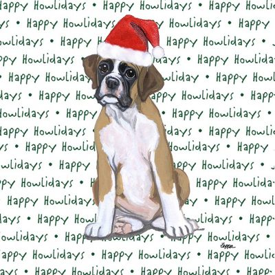 Boxer Dog Coasters Christmas Themed Puppy 1
