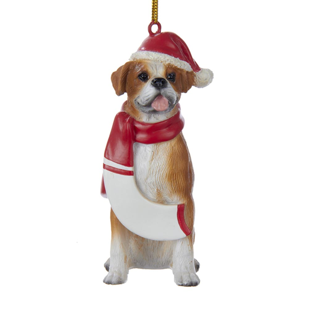Boxer Resin Santa Ornament 3.9 Inches