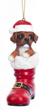 Boxer Santa Boot Ornament