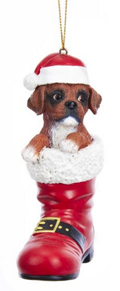 Boxer Santa Boot Ornament