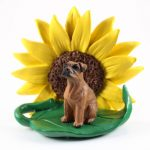 Boxer Tawny Uncropped Figurine Sitting on a Green Leaf in Front of a Yellow Sunflower