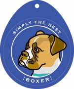 "Boxer Sticker 4x4"" Tan Uncropped"