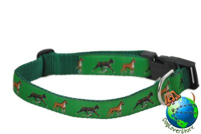 Boxer Dog Breed Adjustable Nylon Collar Large 12-20″ Green 1