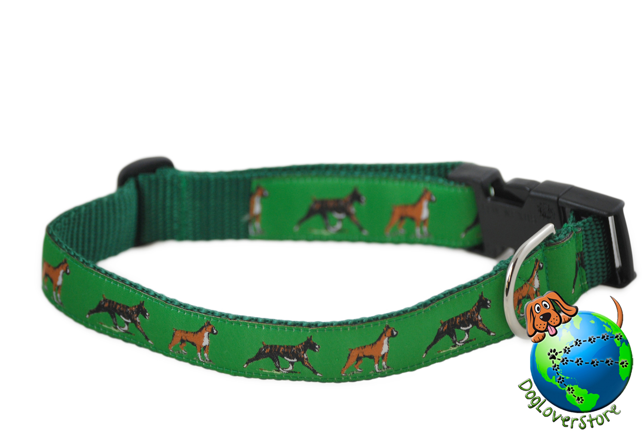 "Boxer Dog Breed Adjustable Nylon Collar Large 12-20"" Green"
