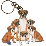 Boxer Wooden Dog Breed Keychain Key Ring