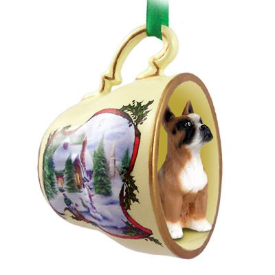Boxer Dog Christmas Holiday Teacup Ornament Figurine 1 - Boxer Christmas Ornament Teacup -