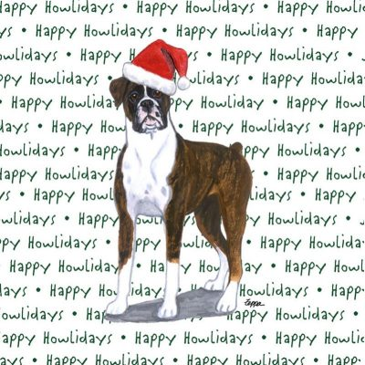 Boxer Dog Coasters Christmas Themed Uncropped 1