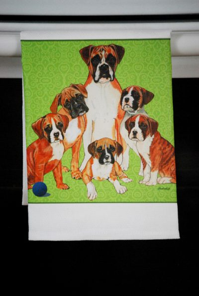 Boxer Dog Kitchen Hand Towel Uncropped