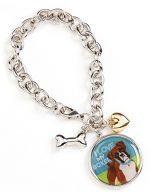 Boxer Charm Bracelet w/ Heart & Bone Silver Uncropped