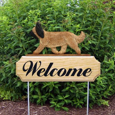 Briard Outdoor Welcome Yard Sign Brown and Tan in Color