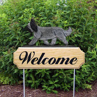 Briard Outdoor Welcome Garden Sign Gray in Color