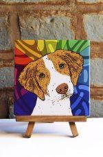 Brittany Brown/White Colorful Portrait Original Artwork on Ceramic Tile 4x4 Inches