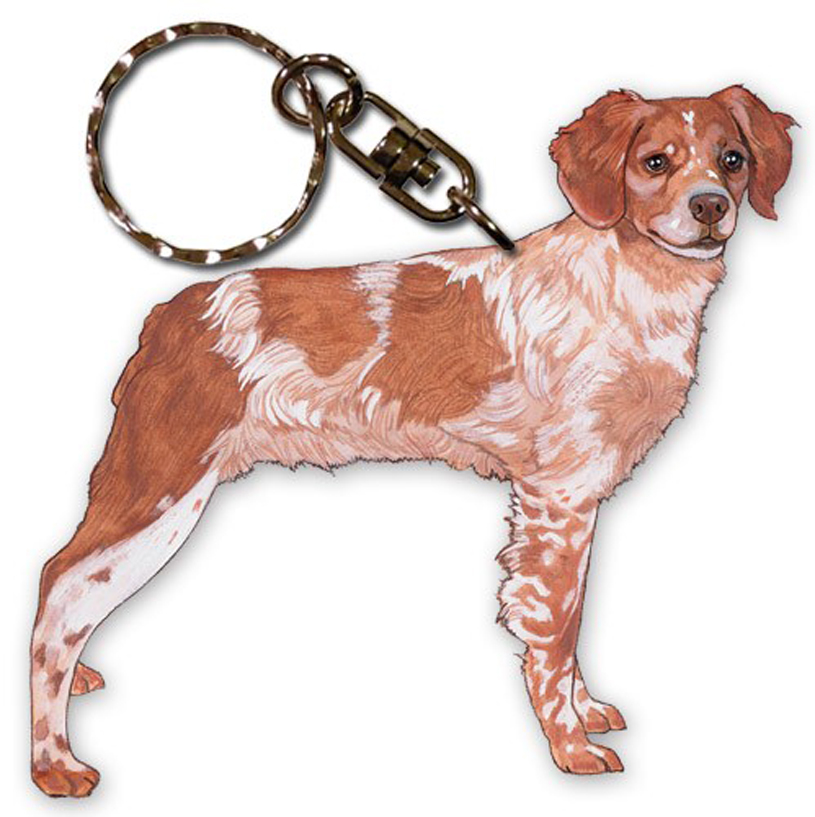 Brittany Wooden Dog Breed Keychain Key Ring