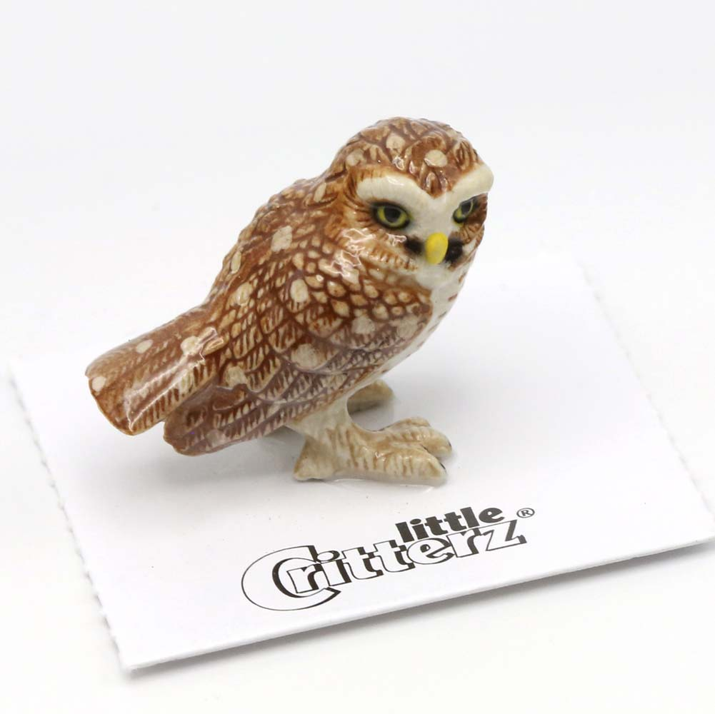 Owl Porcelain Figurine Brown