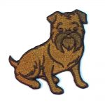 Brussels Griffon Iron on Embroidered Patch Red