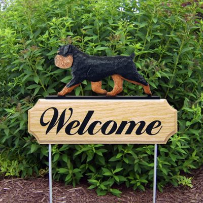 Brussels Griffon Outdoor Welcome Garden Sign Black & Tan in Color Uncropped