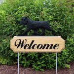 Brussels Griffon Outdoor Welcome Garden Sign Black in Color Uncropped