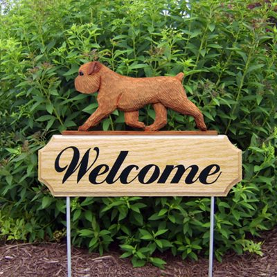 Brussels Griffon Outdoor Welcome Yard Sign Red/Brown in Color