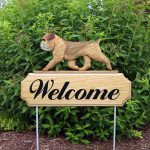 Brussels Griffon Outdoor Welcome Yard Sign Tan/Brown in Color