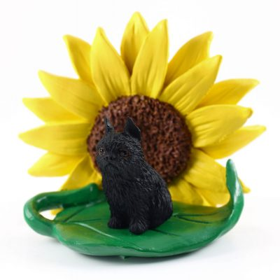 Brussels Griffon Black Figurine Sitting on a Green Leaf in Front of a Yellow Sunflower