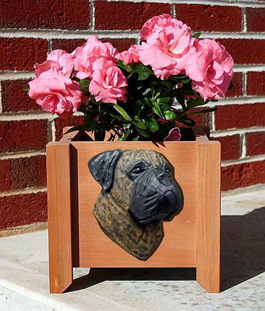 Bull Mastiff Planter Flower Pot Brindle
