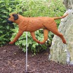 Bull Mastiff Outdoor Garden Sign Stake Red