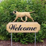 Bull Mastiff Outdoor Welcome Garden Sign Fawn/Tan in Color