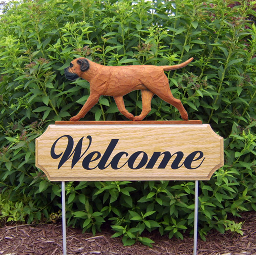 Bull Mastiff Outdoor Welcome Garden Sign Red/Brown in Color