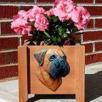 Bull Mastiff Planter Flower Pot Red 1