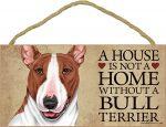 Bull Terrier Wood Dog Sign Wall Plaque 5 x 10 + Bonus Coaster