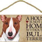 Bull Terrier Wood Dog Sign Wall Plaque 5 x 10 + Bonus Coaster 1