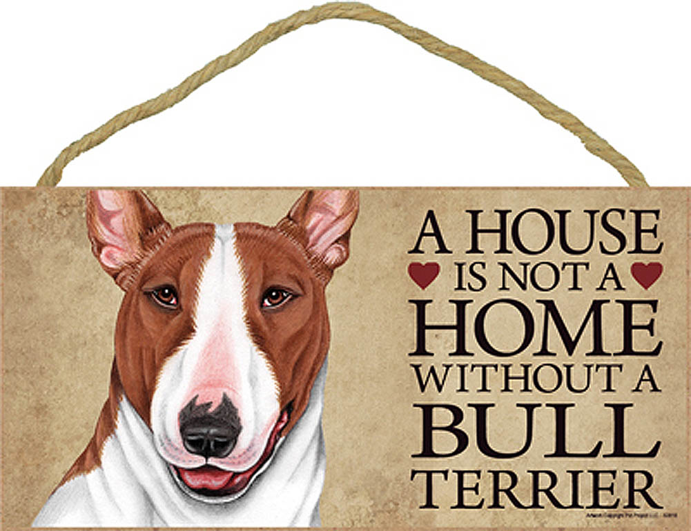 Bull Terrier Wood Dog Sign Wall Plaque 5 x 10 + Bonus Coaster