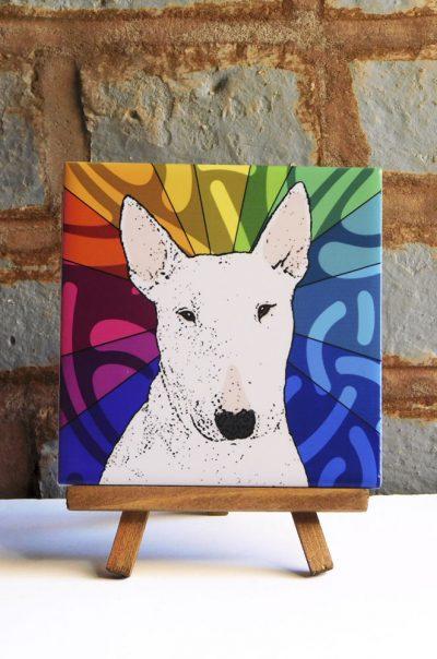 Bull Terrier White Colorful Portrait Original Artwork on Ceramic Tile 4x4 Inches