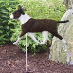 Bull Terrier Garden Stake Sign Brindle & White