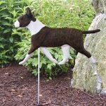 Bull Terrier Garden Stake Sign Brindle & White