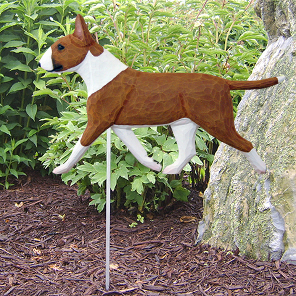 Bull Terrier Garden Stake Sign Red/White