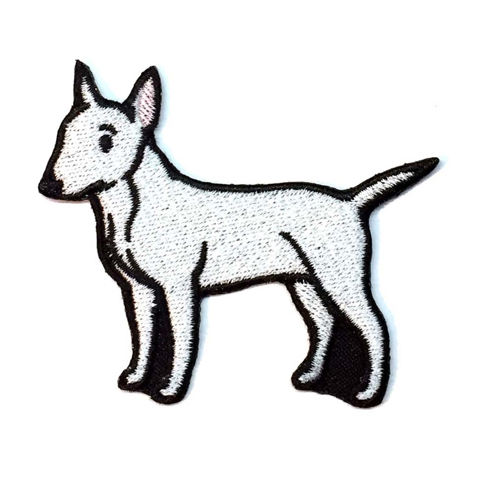 Bull Terrier Iron on Embroidered Patch White