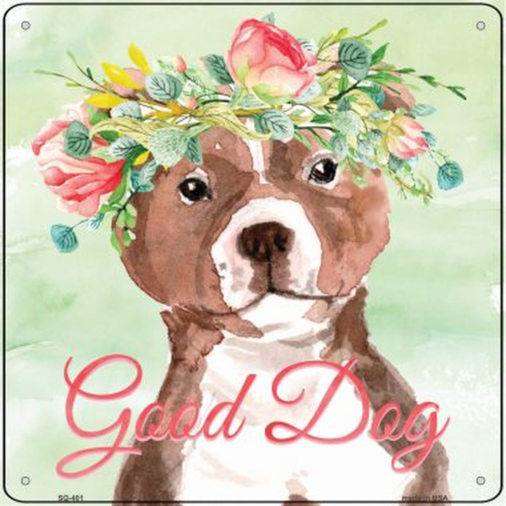 "Bull Terrier ""Good Dog"" Metal Sign Brown"