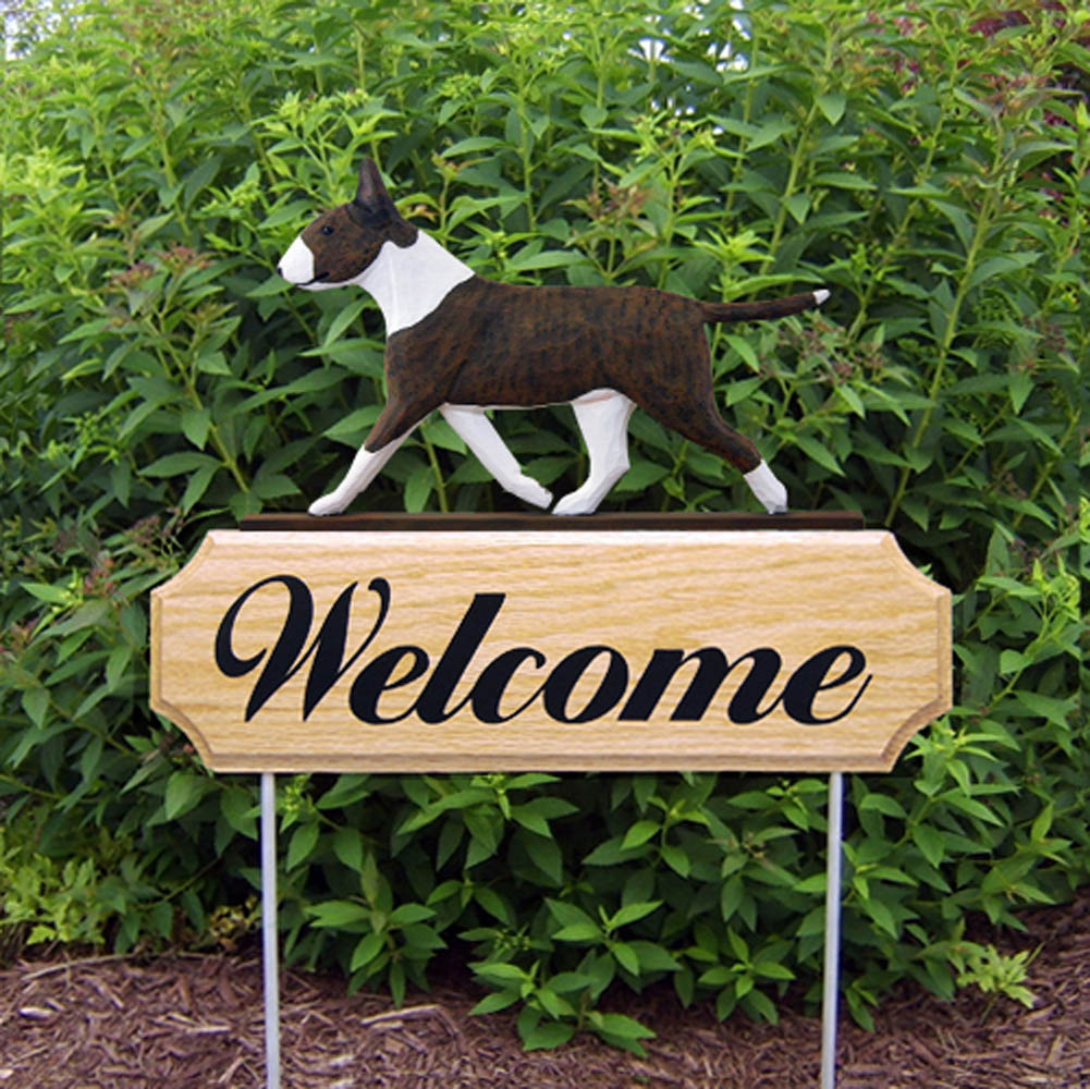 Bull Terrier Outdoor Welcome Sign Brindle & White in Color