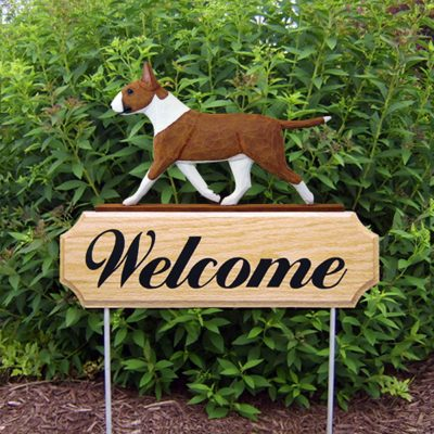 Bull Terrier Outdoor Welcome Garden Sign Red & White in Color