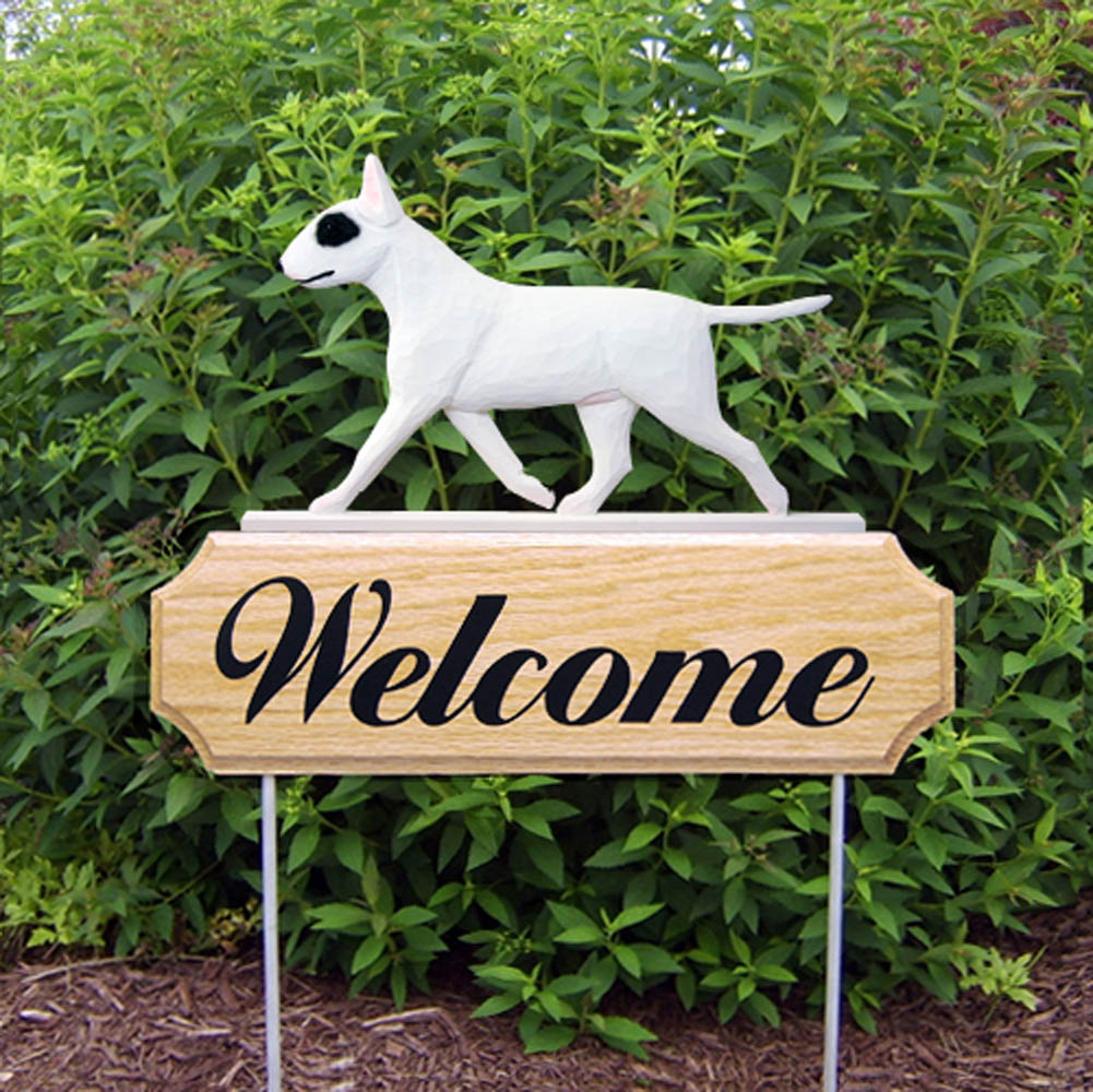 Bull Terrier Outdoor Welcome Garden Sign White with Eye Patch