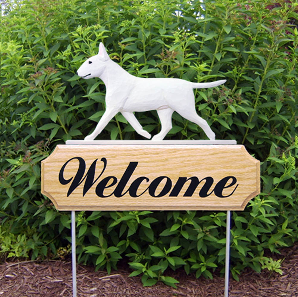 Bull Terrier Outdoor Welcome Garden Sign White in Color