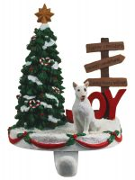 Bull Terrier Stocking Holder Hanger White