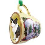 Bull Terrier Dog Christmas Holiday Teacup Ornament Figurine Brindle 1