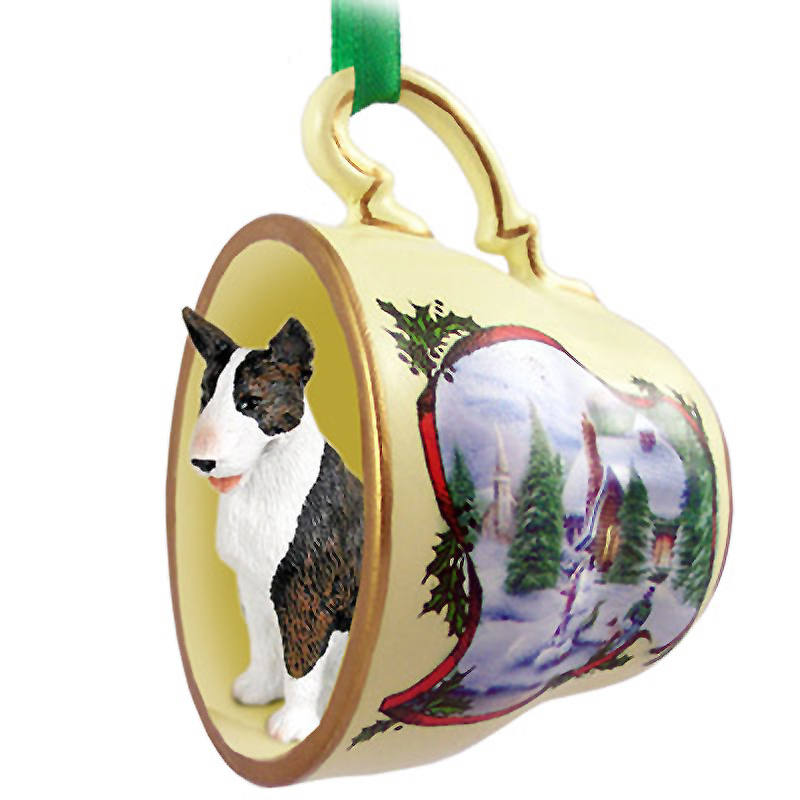 Bull Terrier Dog Christmas Holiday Teacup Ornament Figurine Brindle