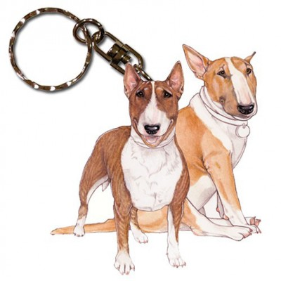Bull Terrier Wooden Dog Breed Keychain Key Ring 1