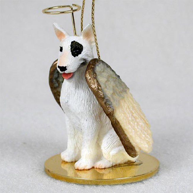 Bull Terrier White Dog Guardian Angel Figurine