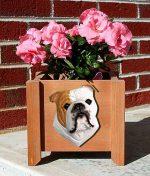 Bulldog Planter Flower Pot Tan