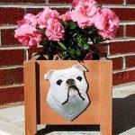 Bulldog Planter Flower Pot White 1